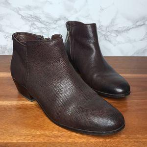 Sam Edelman Petty Leather Ankle Booties Dark Brown